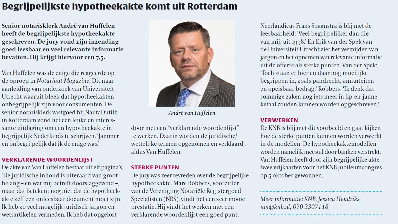 Artikel Andre van Huffelen in Notariaat Magazine