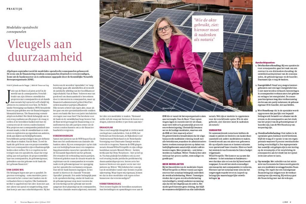 Moniek Wever in het Notariaat Magazine